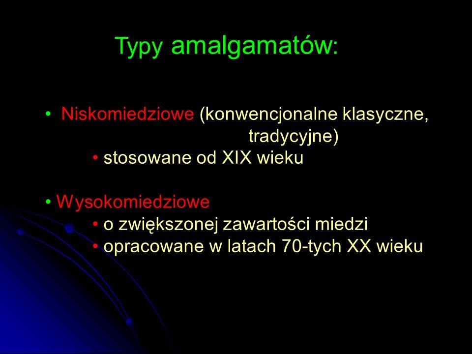 Typy amalgamatów: Niskomiedziowe (konwencjonalne klasyczne, tradycyjne) stosowane od XIX wieku.