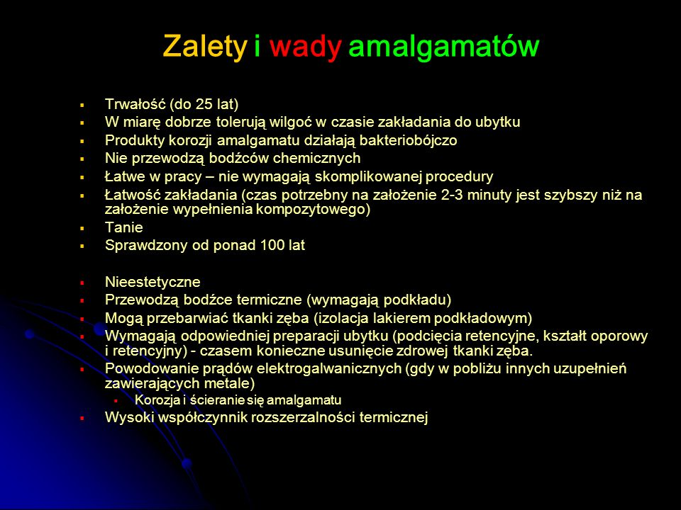 Zalety i wady amalgamatów