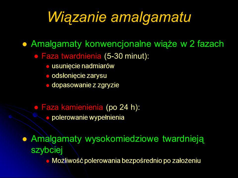 Wiązanie amalgamatu Amalgamaty konwencjonalne wiąże w 2 fazach