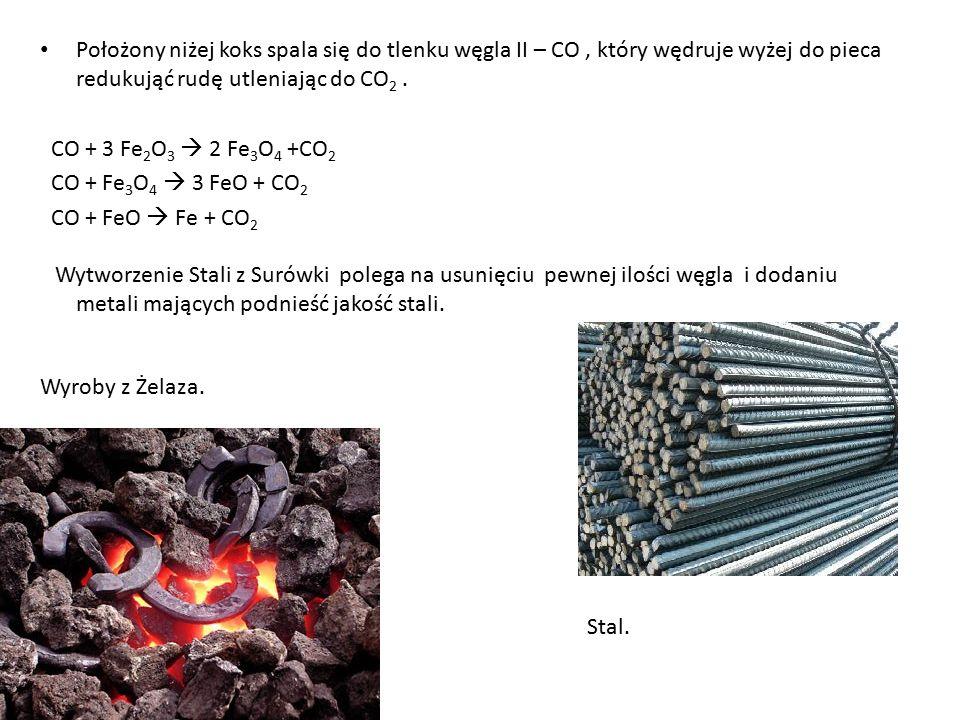 Położony niżej koks spala się do tlenku węgla II – CO , który wędruje wyżej do pieca redukująć rudę utleniając do CO2 .