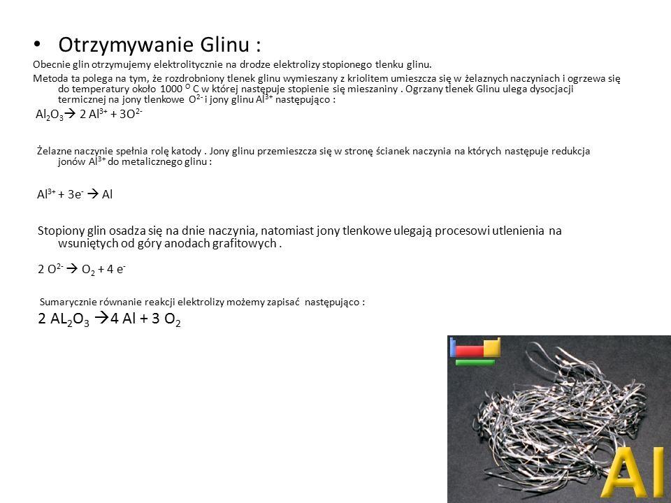 Otrzymywanie Glinu : Al2O3 2 Al3+ + 3O2-