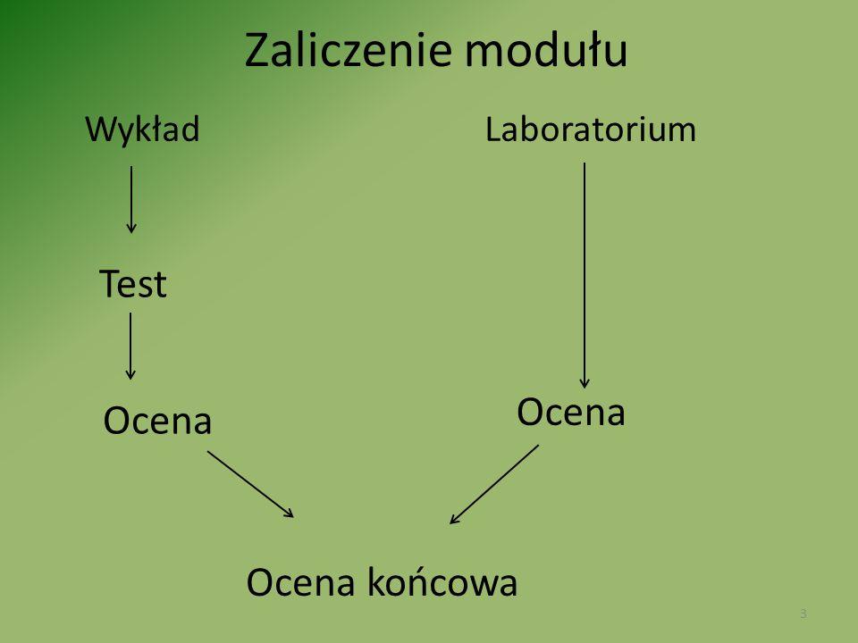 Zaliczenie modułu Wykład Laboratorium.