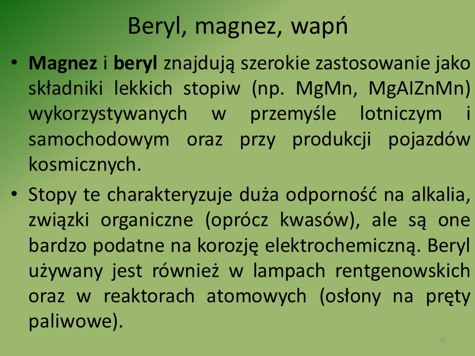 Beryl, magnez, wapń