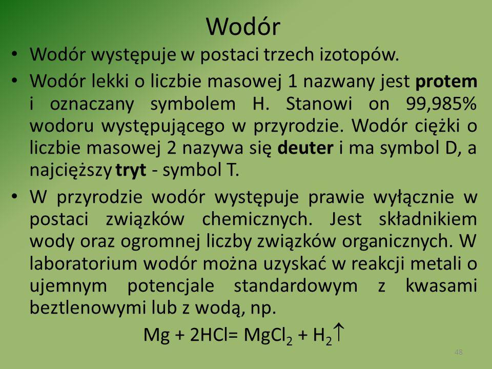Wodór Wodór występuje w postaci trzech izotopów.