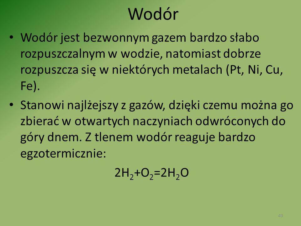 Wodór Wodór jest bezwonnym gazem bardzo słabo rozpuszczalnym w wodzie, natomiast dobrze rozpuszcza się w niektórych metalach (Pt, Ni, Cu, Fe).