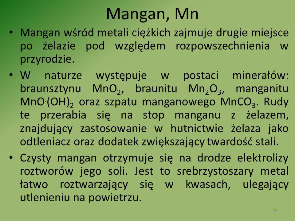 Mangan, Mn Mangan wśród metali ciężkich zajmuje drugie miejsce po żelazie pod względem rozpowszechnienia w przyrodzie.
