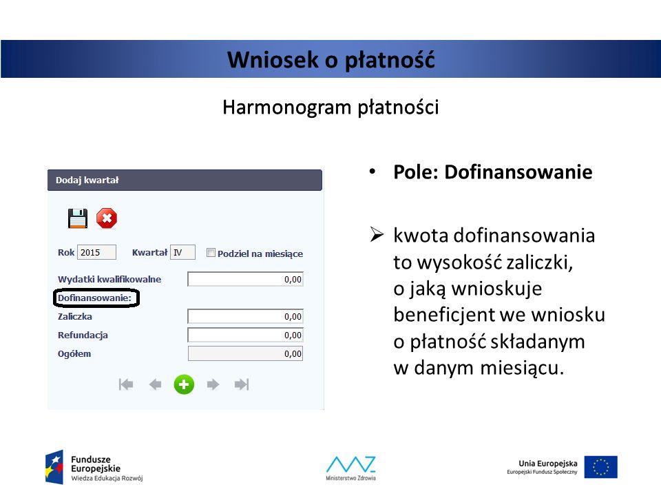 Wniosek o płatność Harmonogram płatności Harmonogram płatności