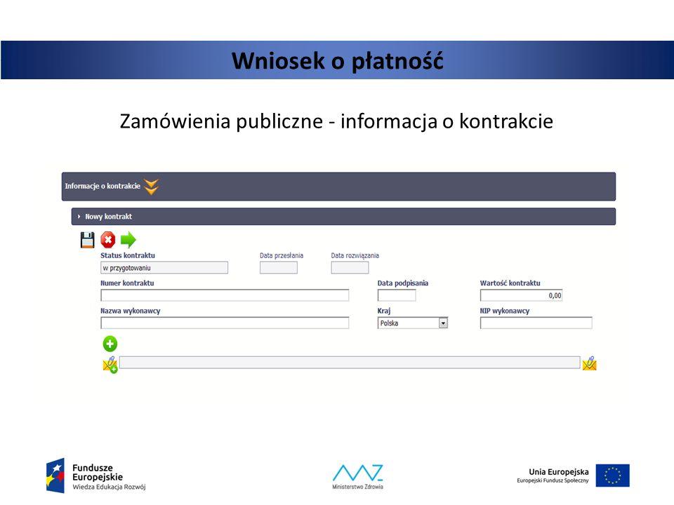 Zamówienia publiczne - informacja o kontrakcie