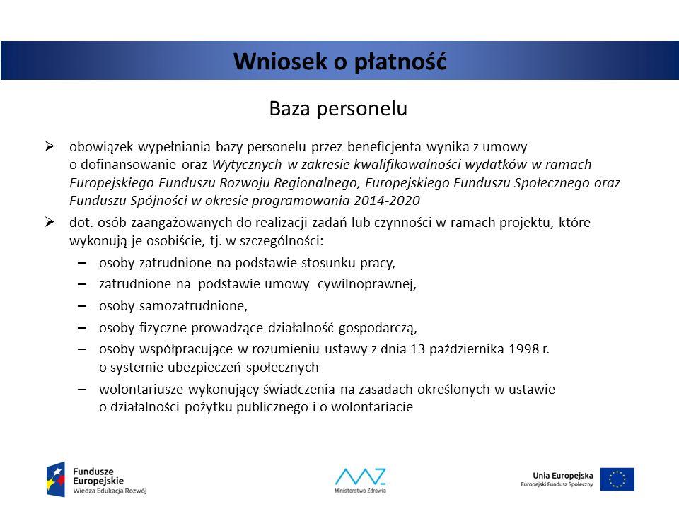 Wniosek o płatność Baza personelu