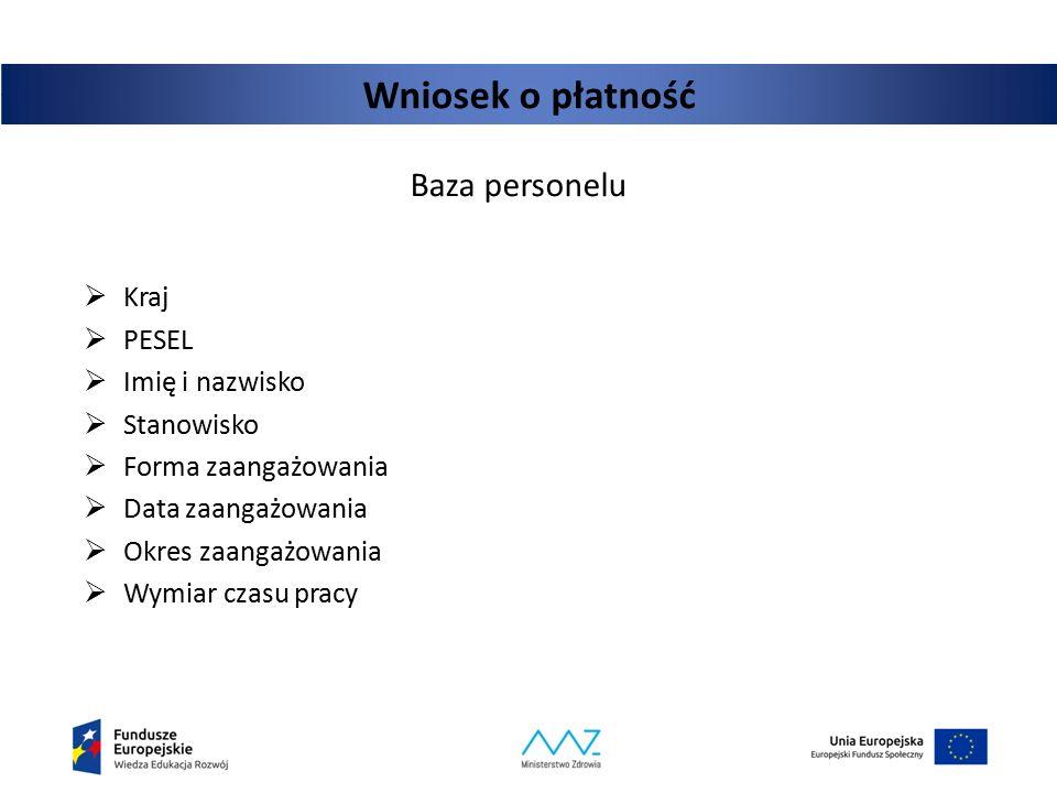 Wniosek o płatność Baza personelu Kraj PESEL Imię i nazwisko