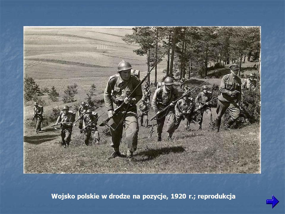 Wojsko polskie w drodze na pozycje, 1920 r.; reprodukcja