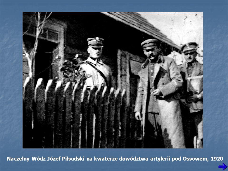 Naczelny Wódz Józef Piłsudski na kwaterze dowództwa artylerii pod Ossowem, 1920