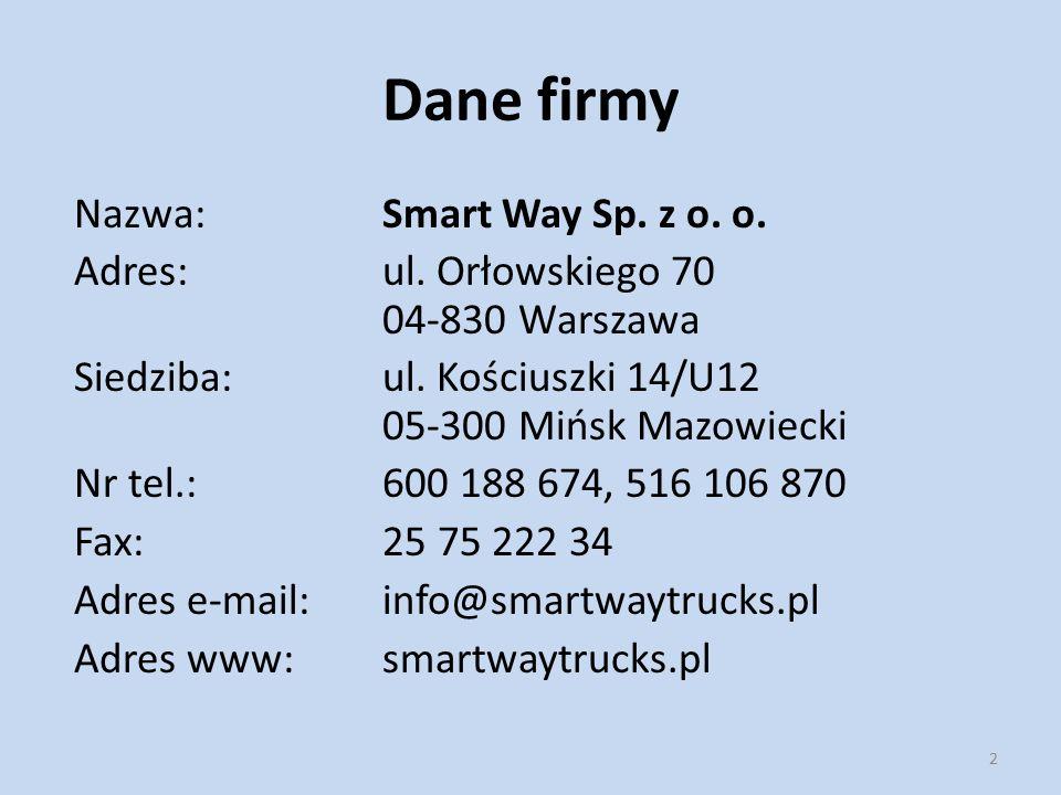 Dane firmy Nazwa: Smart Way Sp. z o. o.