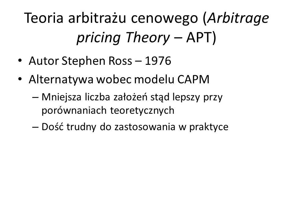 Teoria arbitrażu cenowego (Arbitrage pricing Theory – APT)