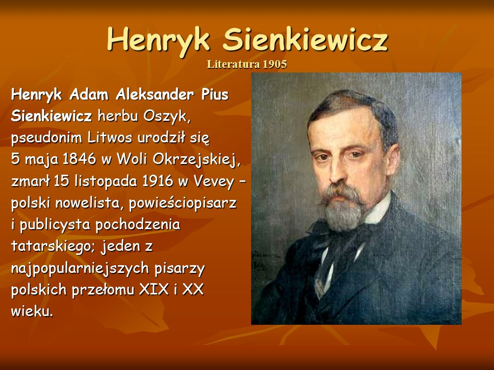 Henryk Sienkiewicz Literatura 1905