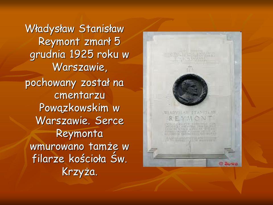 Władysław Stanisław Reymont zmarł 5 grudnia 1925 roku w Warszawie,