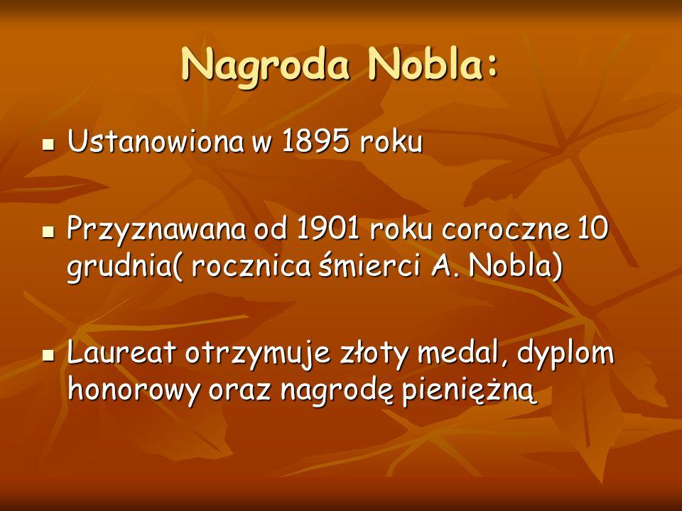 Nagroda Nobla: Ustanowiona w 1895 roku