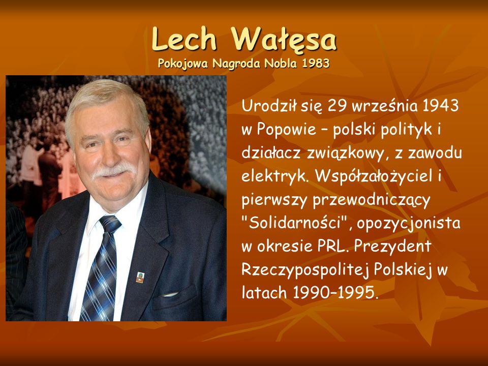 Lech Wałęsa Pokojowa Nagroda Nobla 1983