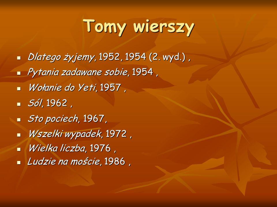 Tomy wierszy Dlatego żyjemy, 1952, 1954 (2. wyd.) ,