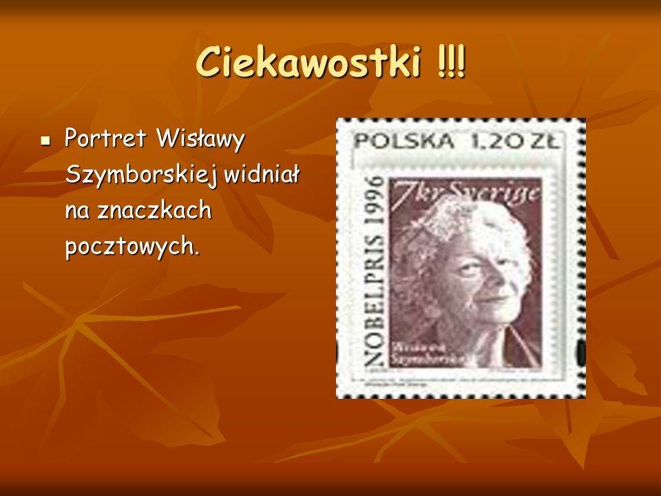Ciekawostki !!! Portret Wisławy Szymborskiej widniał na znaczkach pocztowych.