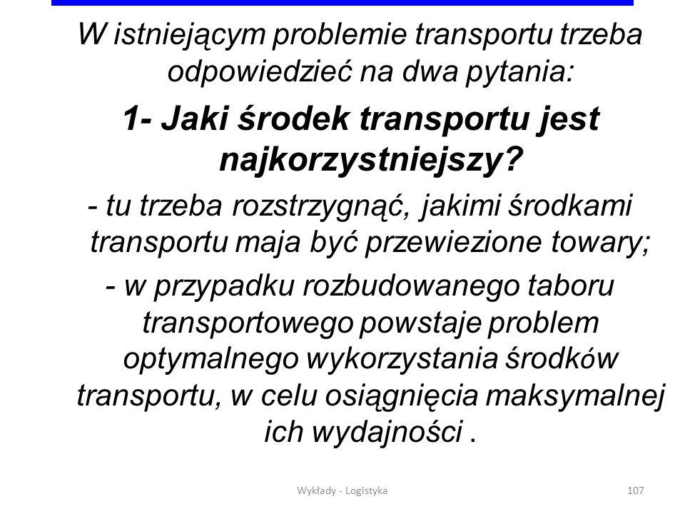 1- Jaki środek transportu jest najkorzystniejszy
