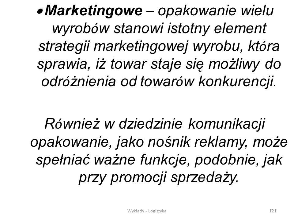 · Marketingowe – opakowanie wielu wyrobów stanowi istotny element strategii marketingowej wyrobu, która sprawia, iż towar staje się możliwy do odróżnienia od towarów konkurencji.