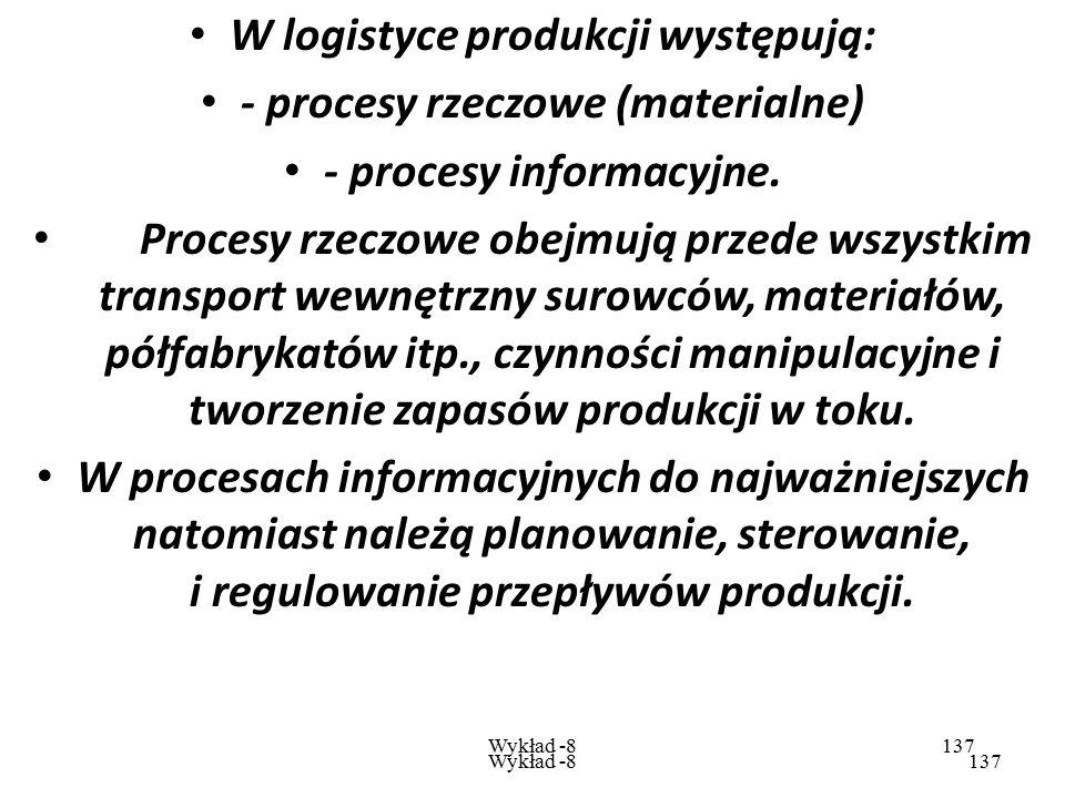 W logistyce produkcji występują: - procesy rzeczowe (materialne)