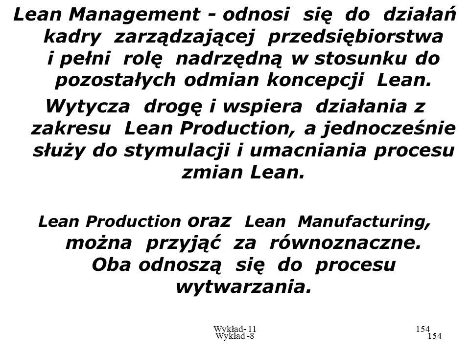 Lean Management - odnosi się do działań kadry zarządzającej przedsiębiorstwa i pełni rolę nadrzędną w stosunku do pozostałych odmian koncepcji Lean.