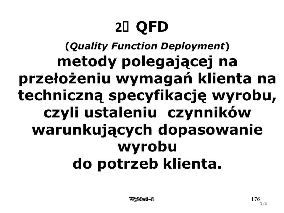 2Ø QFD (Quality Function Deployment) metody polegającej na przełożeniu wymagań klienta na techniczną specyfikację wyrobu, czyli ustaleniu czynników warunkujących dopasowanie wyrobu do potrzeb klienta.