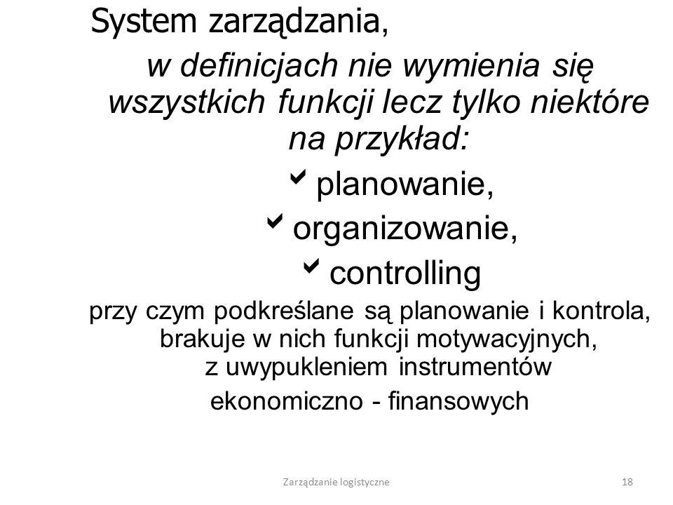 System zarządzania, w definicjach nie wymienia się wszystkich funkcji lecz tylko niektóre na przykład: