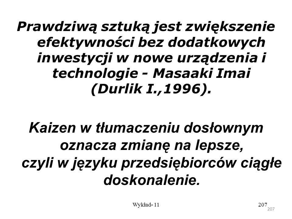 Prawdziwą sztuką jest zwiększenie efektywności bez dodatkowych inwestycji w nowe urządzenia i technologie - Masaaki Imai (Durlik I.,1996).