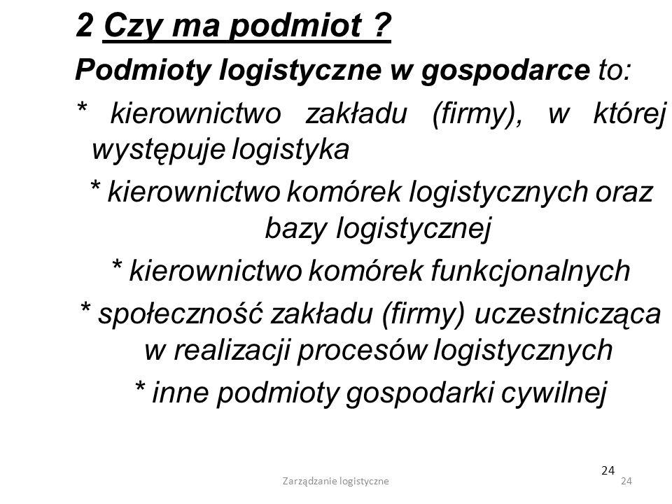 2 Czy ma podmiot Podmioty logistyczne w gospodarce to: