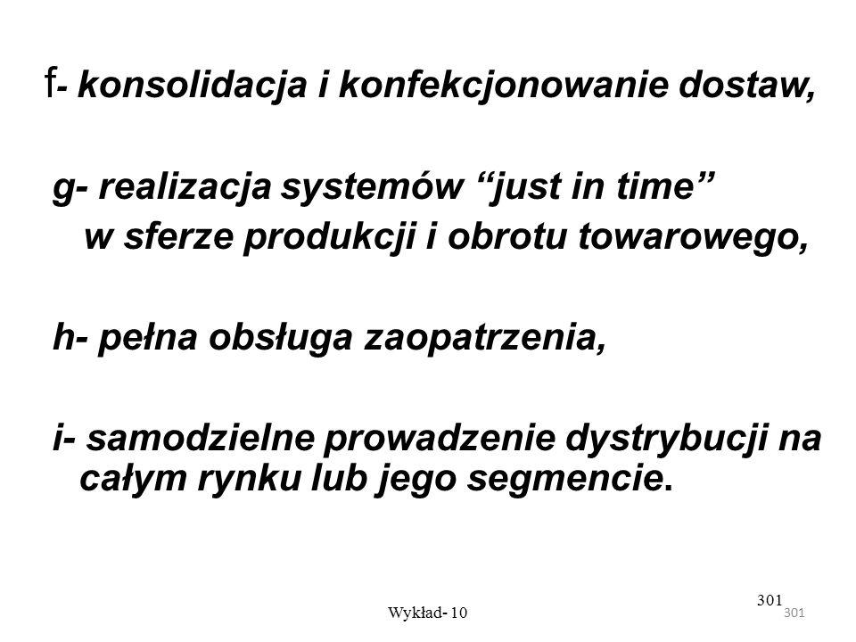 f- konsolidacja i konfekcjonowanie dostaw,