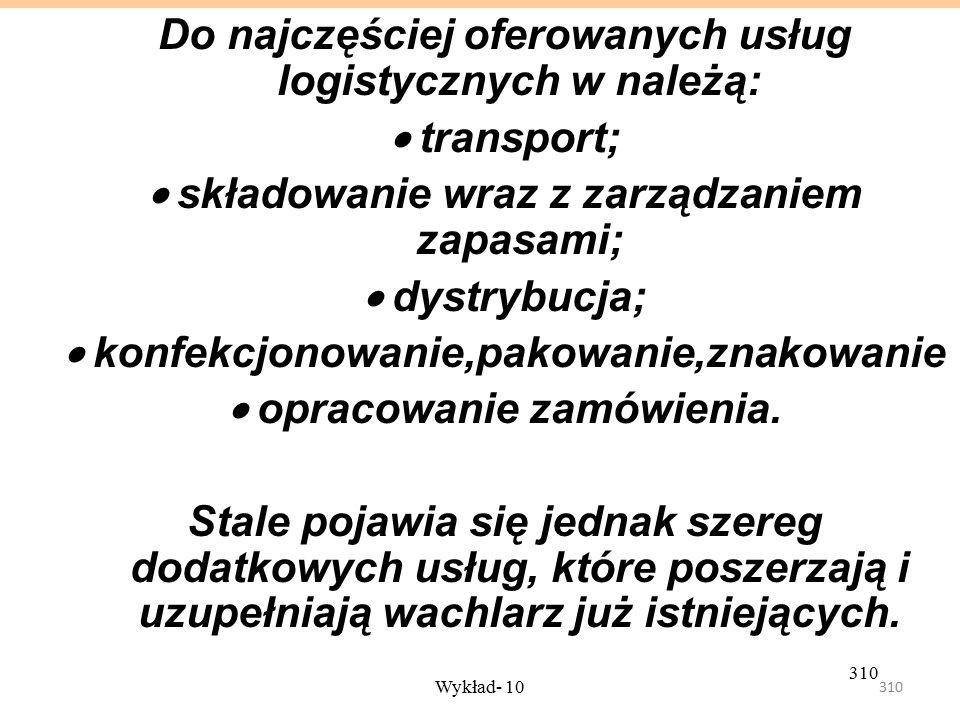 Do najczęściej oferowanych usług logistycznych w należą: · transport;