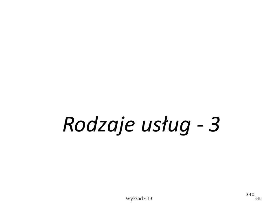 Rodzaje usług - 3 340 Wykład - 13