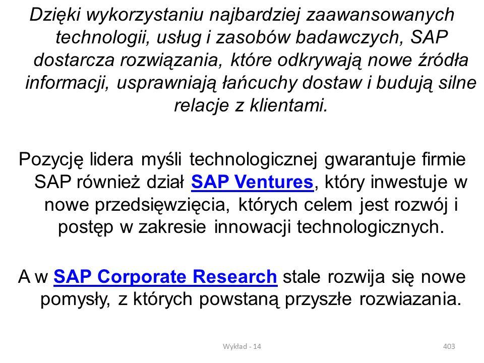 Dzięki wykorzystaniu najbardziej zaawansowanych technologii, usług i zasobów badawczych, SAP dostarcza rozwiązania, które odkrywają nowe źródła informacji, usprawniają łańcuchy dostaw i budują silne relacje z klientami.