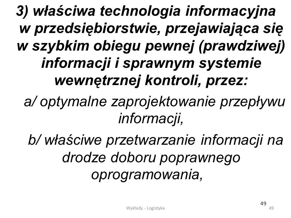 a/ optymalne zaprojektowanie przepływu informacji,