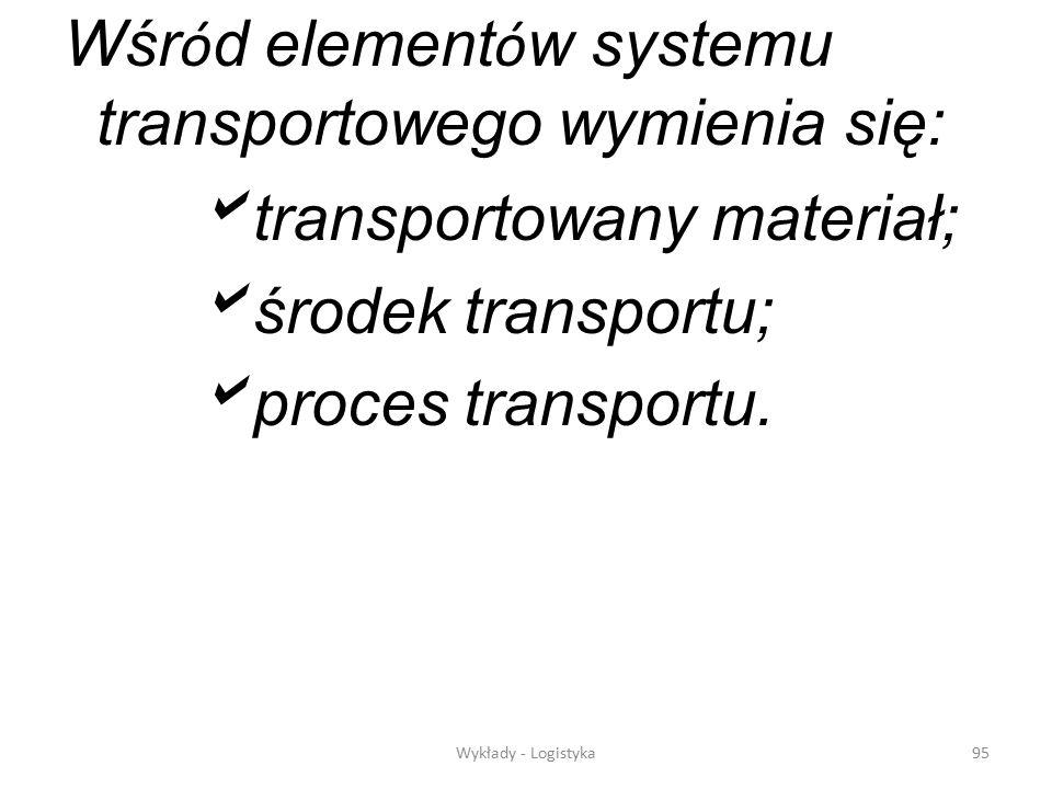 Wśród elementów systemu transportowego wymienia się: