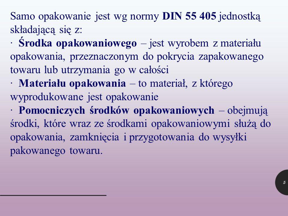 Samo opakowanie jest wg normy DIN 55 405 jednostką składającą się z: