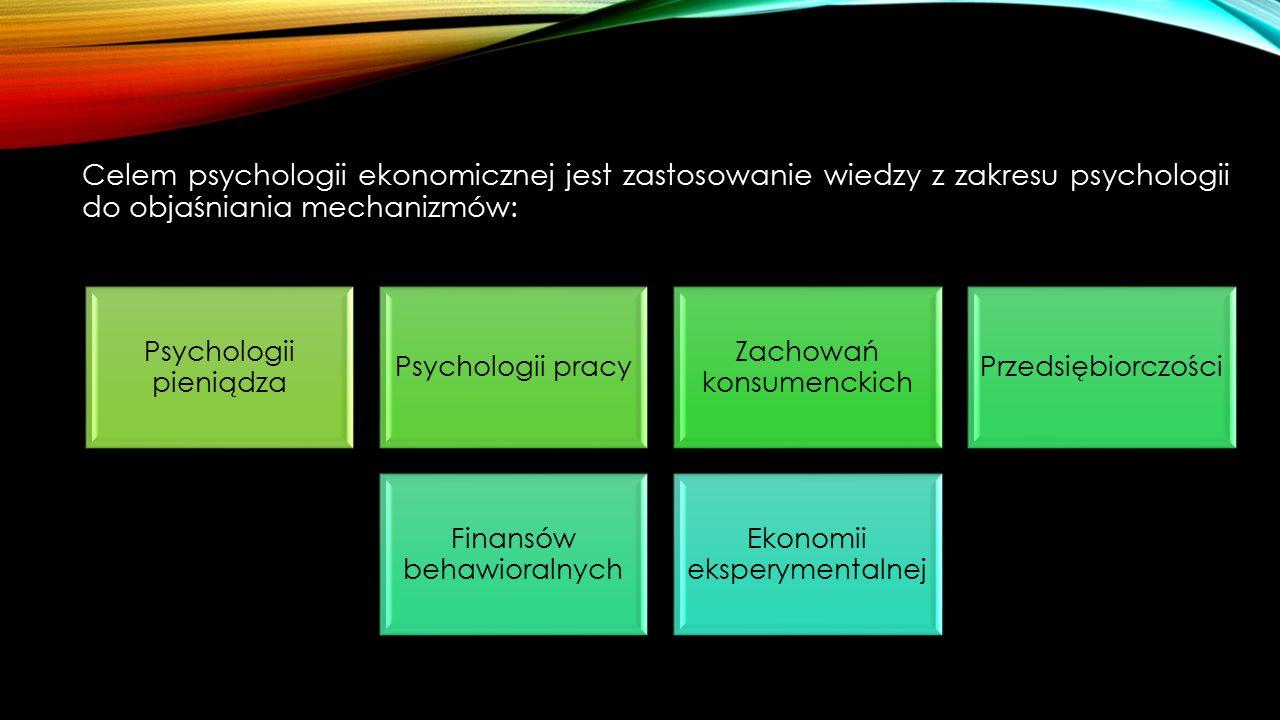 Celem psychologii ekonomicznej jest zastosowanie wiedzy z zakresu psychologii do objaśniania mechanizmów: