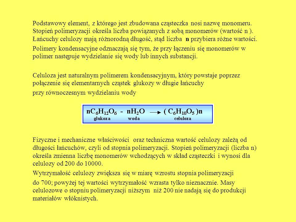 Podstawowy element, z którego jest zbudowana cząsteczka nosi nazwę monomeru. Stopień polimeryzacji określa liczba powiązanych z sobą monomerów (wartość n ). Łańcuchy celulozy mają różnorodną długość, stąd liczba n przybiera różne wartości.