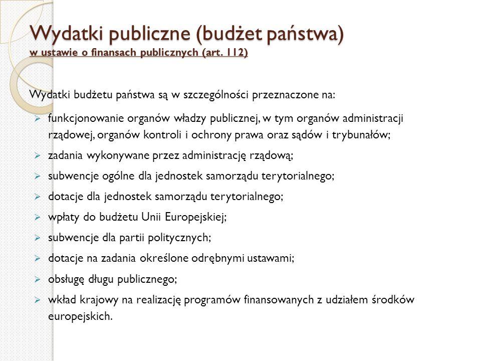 Wydatki publiczne (budżet państwa) w ustawie o finansach publicznych (art. 112)