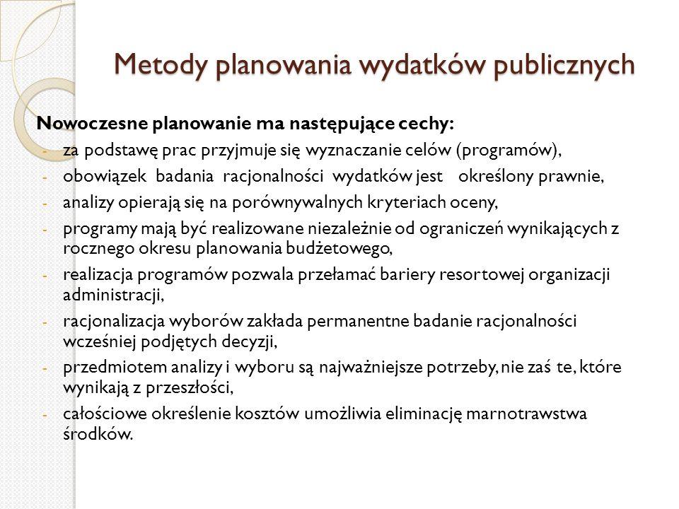 Metody planowania wydatków publicznych