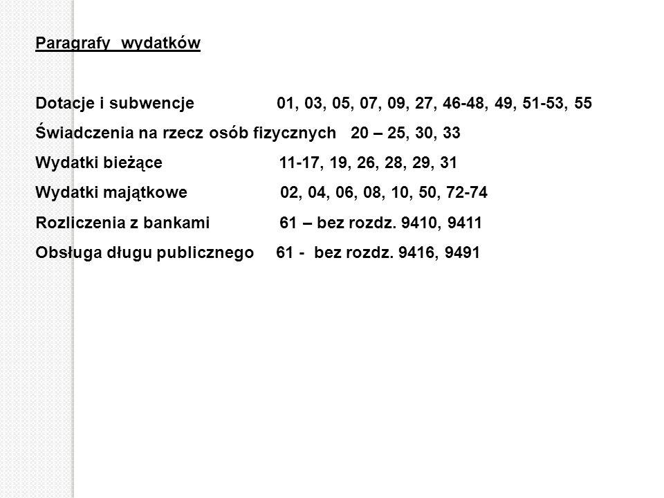 Paragrafy wydatków Dotacje i subwencje 01, 03, 05, 07, 09, 27, 46-48, 49, 51-53, 55.
