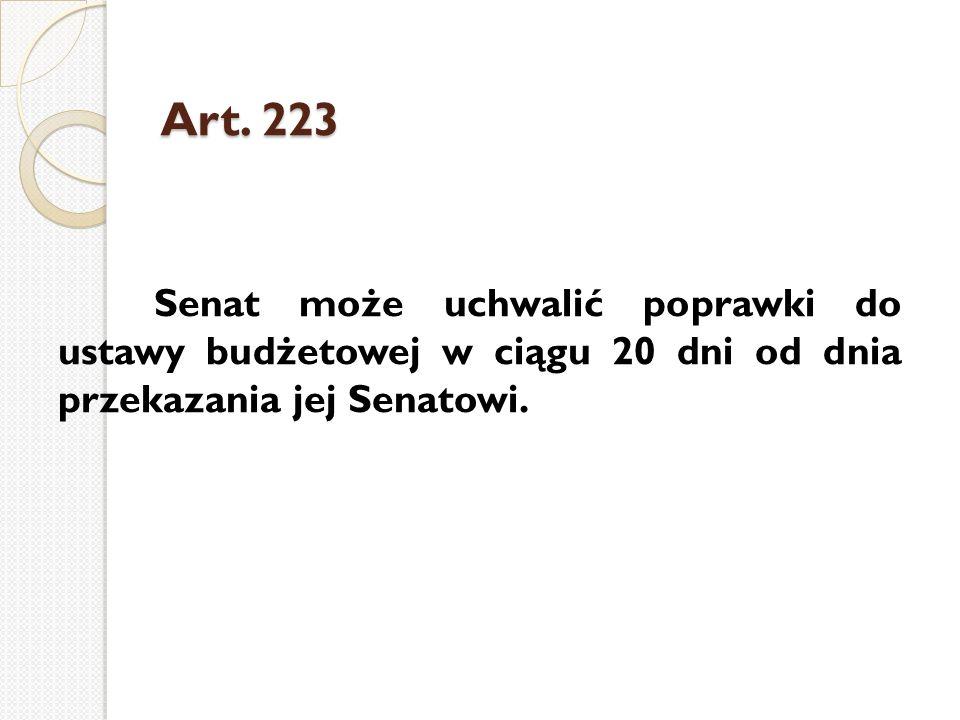 Art. 223 Senat może uchwalić poprawki do ustawy budżetowej w ciągu 20 dni od dnia przekazania jej Senatowi.