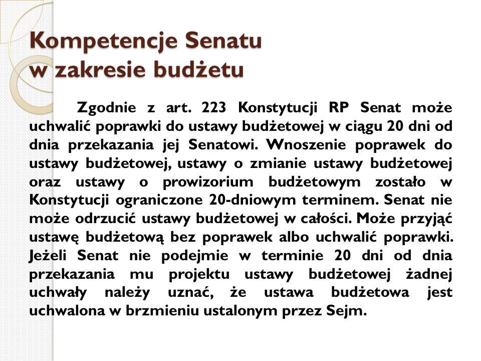 Kompetencje Senatu w zakresie budżetu
