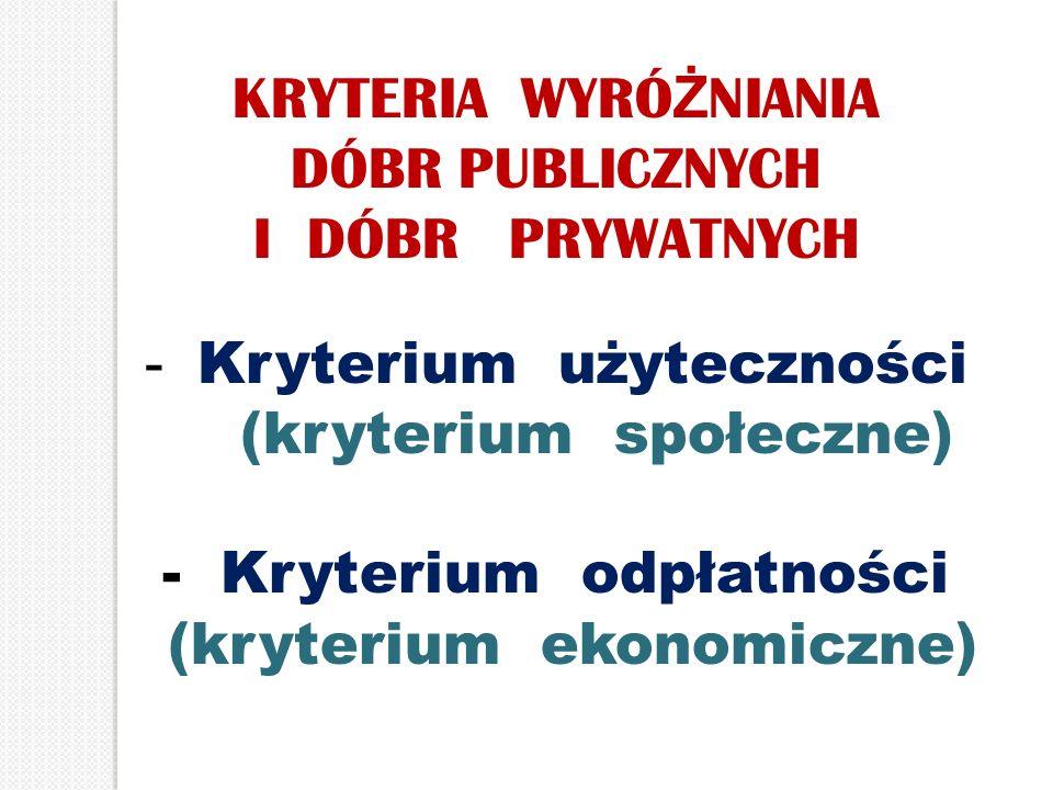 Kryterium użyteczności (kryterium społeczne) - Kryterium odpłatności