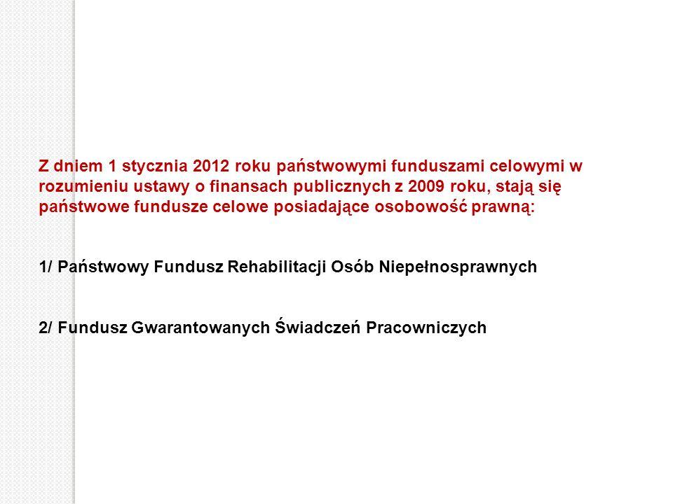 Z dniem 1 stycznia 2012 roku państwowymi funduszami celowymi w rozumieniu ustawy o finansach publicznych z 2009 roku, stają się państwowe fundusze celowe posiadające osobowość prawną: