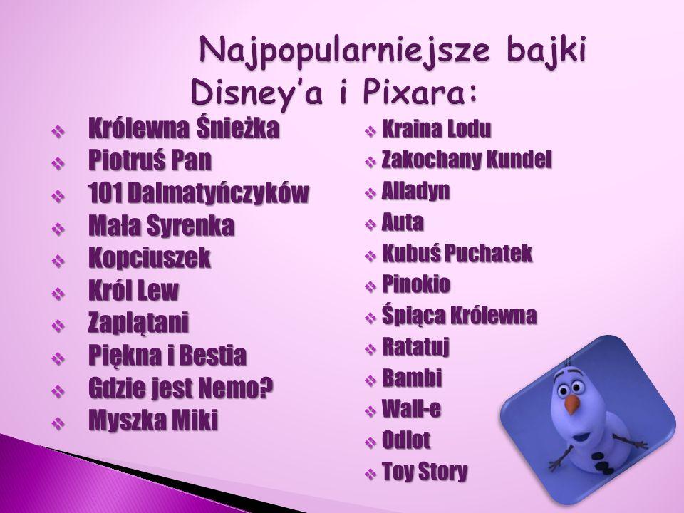 Najpopularniejsze bajki Disney'a i Pixara: