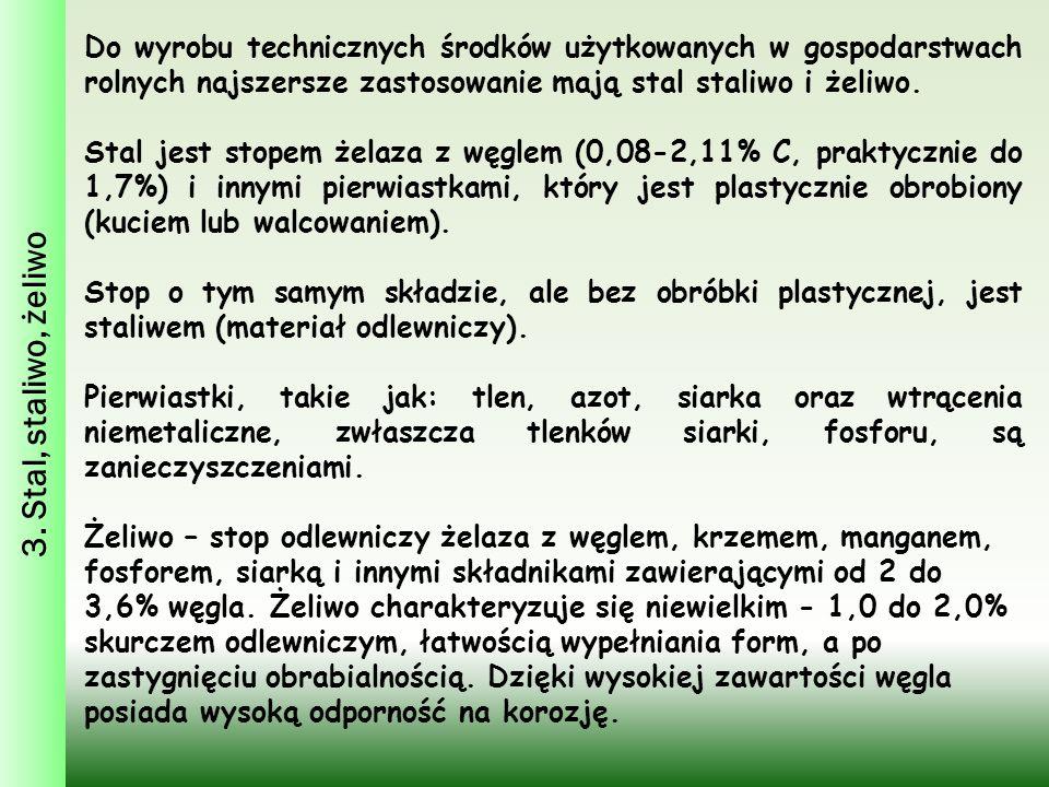 3. Stal, staliwo, żeliwo Do wyrobu technicznych środków użytkowanych w gospodarstwach rolnych najszersze zastosowanie mają stal staliwo i żeliwo.